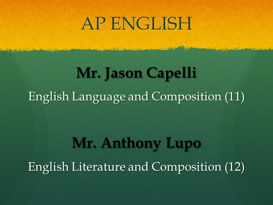 AP ENGLISH Mr.Jason Capelli English Language and Composition (11) Mr.