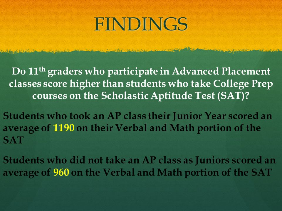FINDINGS Do 11 th graders who participate in Advanced Placement classes score higher than students who take College Prep courses on the Scholastic Aptitude Test (SAT).