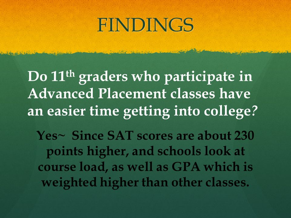 FINDINGS Do 11 th graders who participate in Advanced Placement classes have an easier time getting into college .