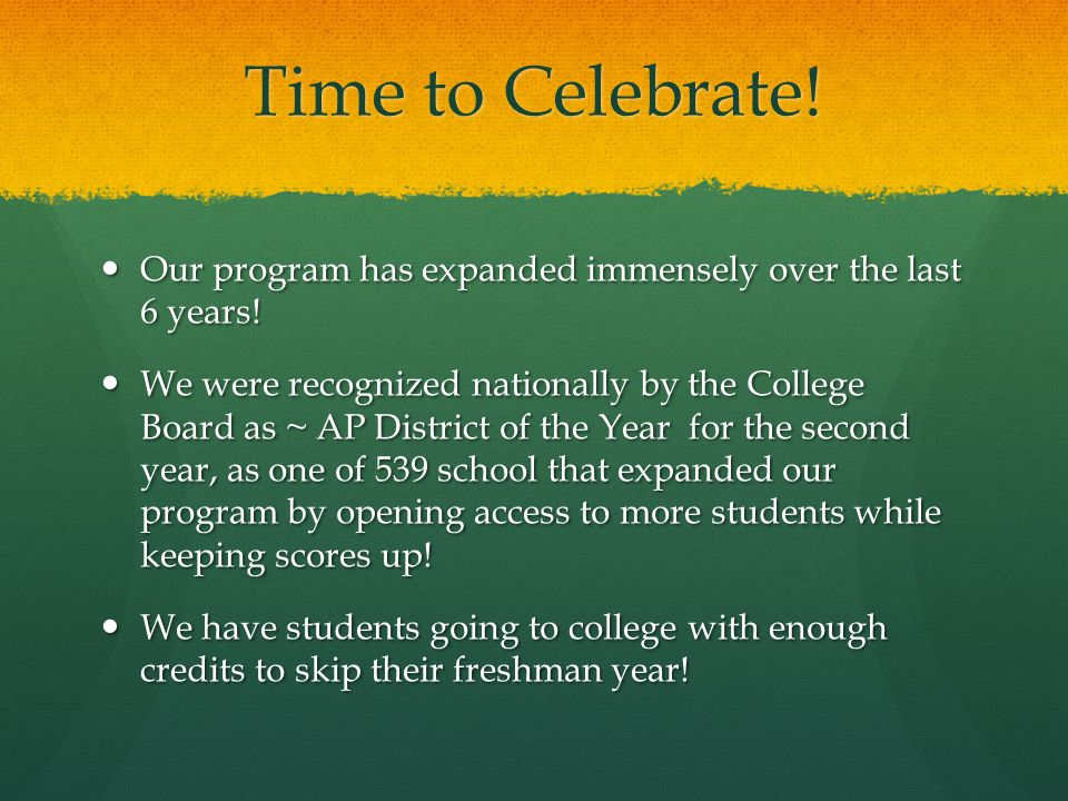 Time to Celebrate.Our program has expanded immensely over the last 6 years.