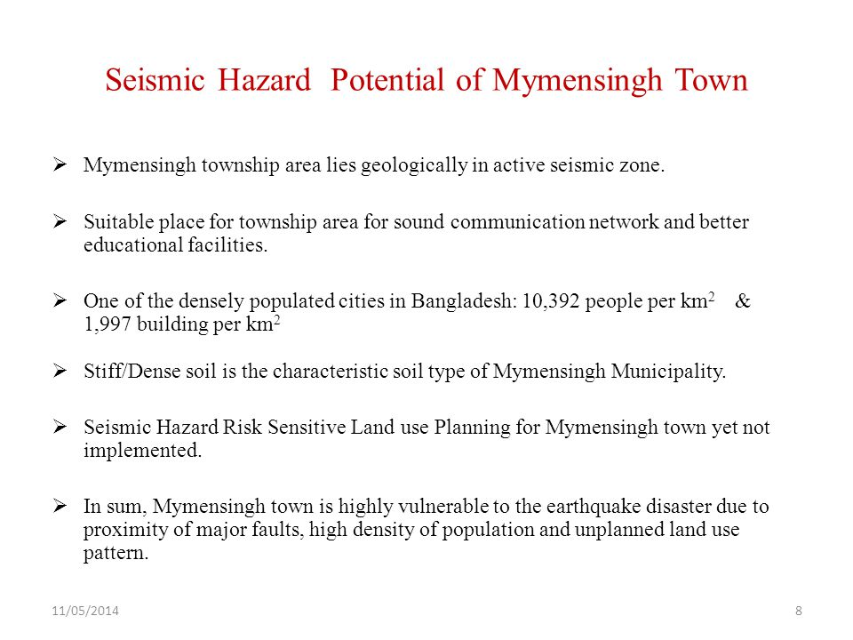 Seismic Hazard Potential of Mymensingh Town  Mymensingh township area lies geologically in active seismic zone.