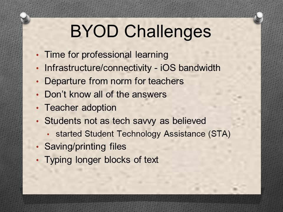 Time for professional learning Infrastructure/connectivity - iOS bandwidth Departure from norm for teachers Don't know all of the answers Teacher adoption Students not as tech savvy as believed started Student Technology Assistance (STA) Saving/printing files Typing longer blocks of text BYOD Challenges