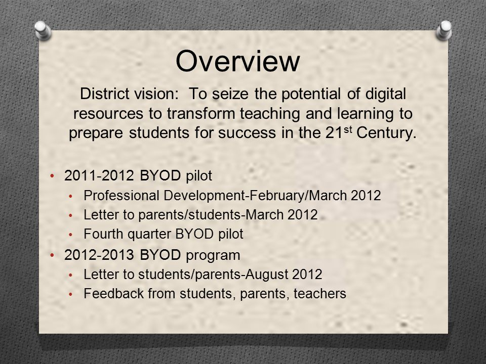 Overview District vision: To seize the potential of digital resources to transform teaching and learning to prepare students for success in the 21 st Century.