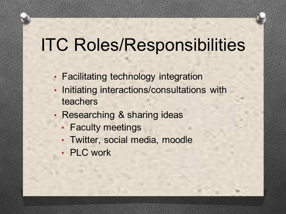 Facilitating technology integration Initiating interactions/consultations with teachers Researching & sharing ideas Faculty meetings Twitter, social media, moodle PLC work ITC Roles/Responsibilities
