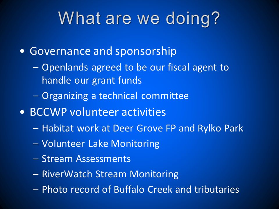 Governance and sponsorship –Openlands agreed to be our fiscal agent to handle our grant funds –Organizing a technical committee BCCWP volunteer activities –Habitat work at Deer Grove FP and Rylko Park –Volunteer Lake Monitoring –Stream Assessments –RiverWatch Stream Monitoring –Photo record of Buffalo Creek and tributaries
