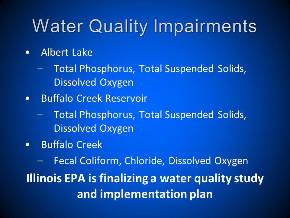 Albert Lake –Total Phosphorus, Total Suspended Solids, Dissolved Oxygen Buffalo Creek Reservoir –Total Phosphorus, Total Suspended Solids, Dissolved O