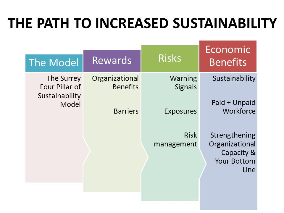 Sustainability Paid + Unpaid Workforce Strengthening Organizational Capacity & Your Bottom Line Economic Benefits Warning Signals Exposures Risk management Risks Organizational Benefits Barriers Rewards The Surrey Four Pillar of Sustainability Model The Model THE PATH TO INCREASED SUSTAINABILITY