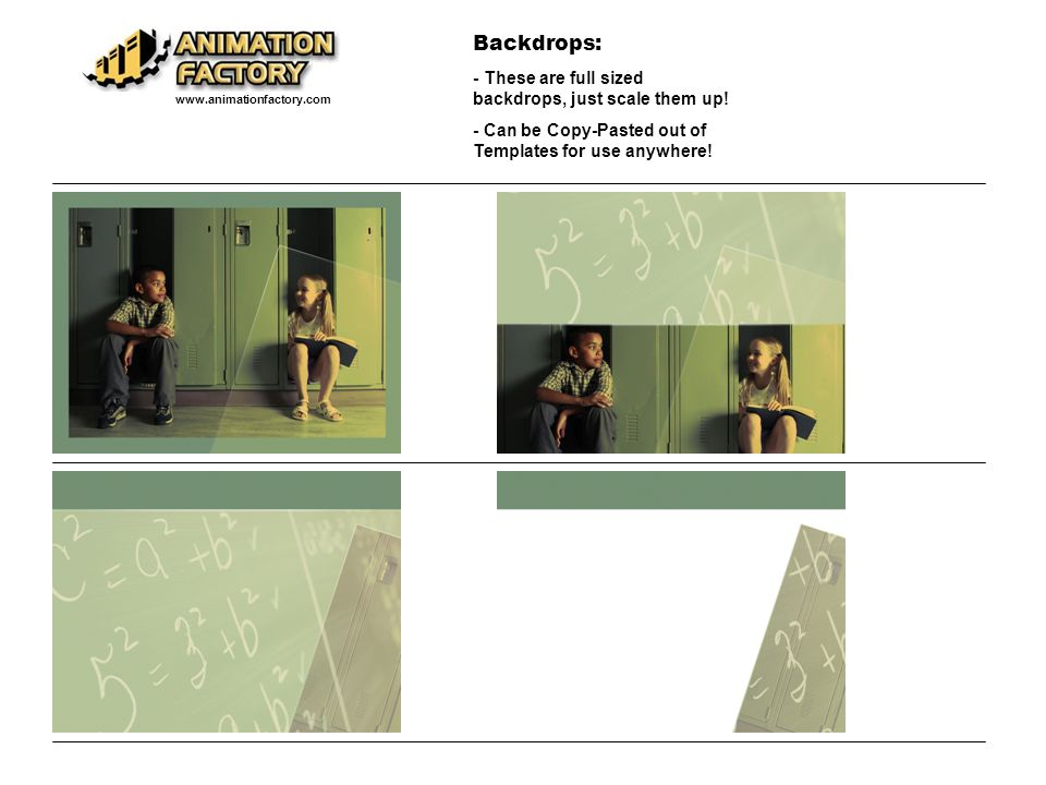 Backdrops: - These are full sized backdrops, just scale them up.