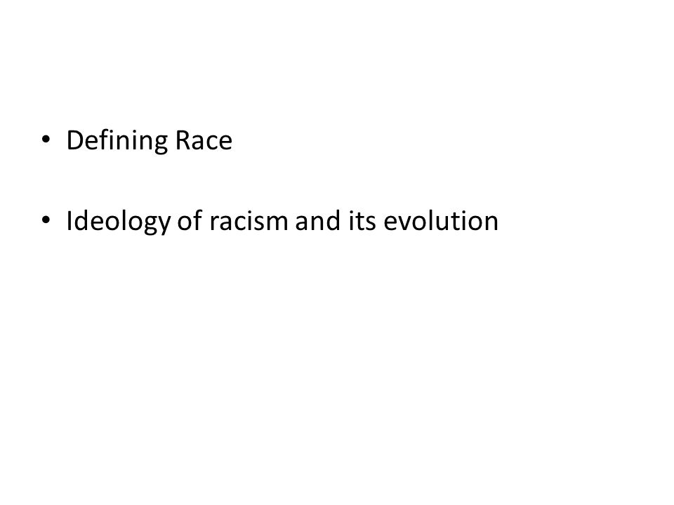 Defining Race Ideology of racism and its evolution