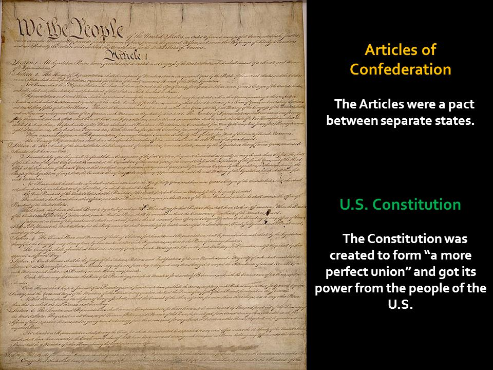 """Articles of Confederation The Articles were a pact between separate states. U.S. Constitution The Constitution was created to form """"a more perfect uni"""