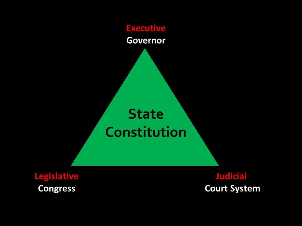 Executive Governor Legislative Congress Judicial Court System State Constitution