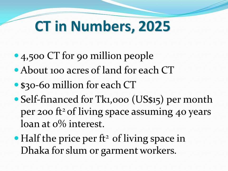 4,500 CT for 90 million people About 100 acres of land for each CT $30-60 million for each CT Self-financed for Tk1,000 (US$15) per month per 200 ft 2