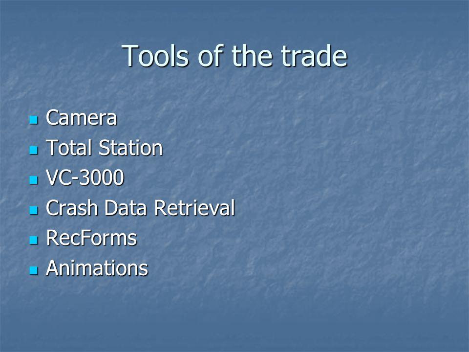 Tools of the trade Camera Camera Total Station Total Station VC-3000 VC-3000 Crash Data Retrieval Crash Data Retrieval RecForms RecForms Animations An