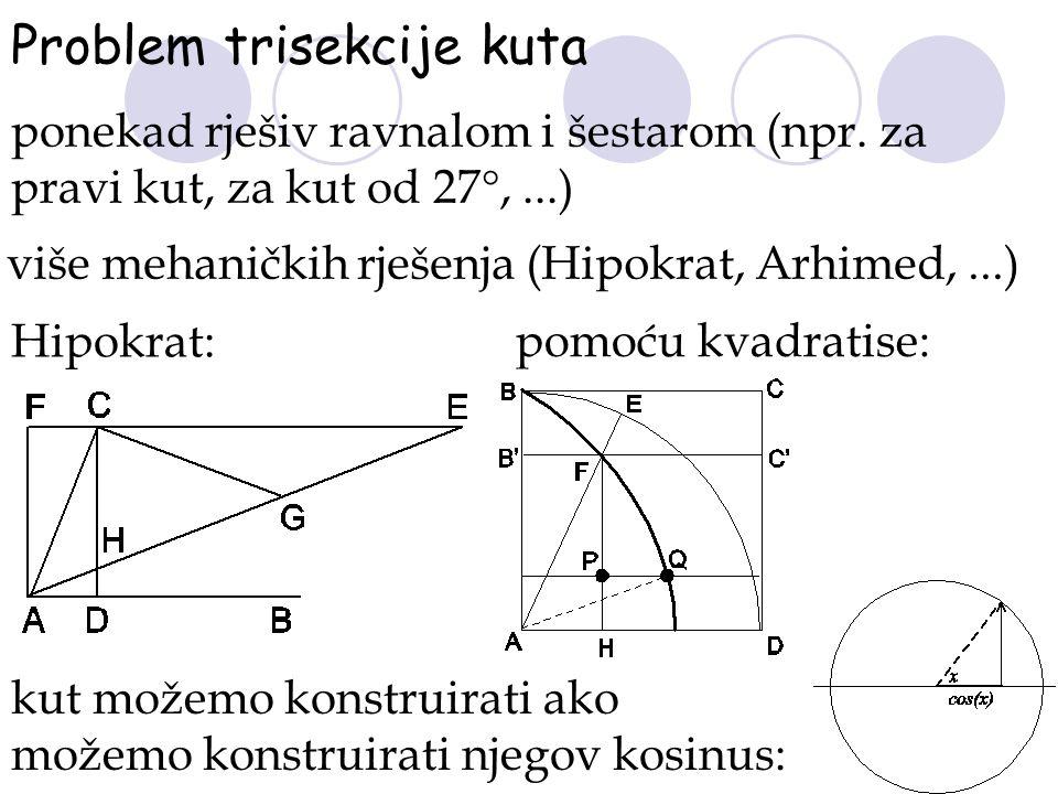 Problem trisekcije kuta ponekad rješiv ravnalom i šestarom (npr. za pravi kut, za kut od 27°,...) više mehaničkih rješenja (Hipokrat, Arhimed,...) Hip