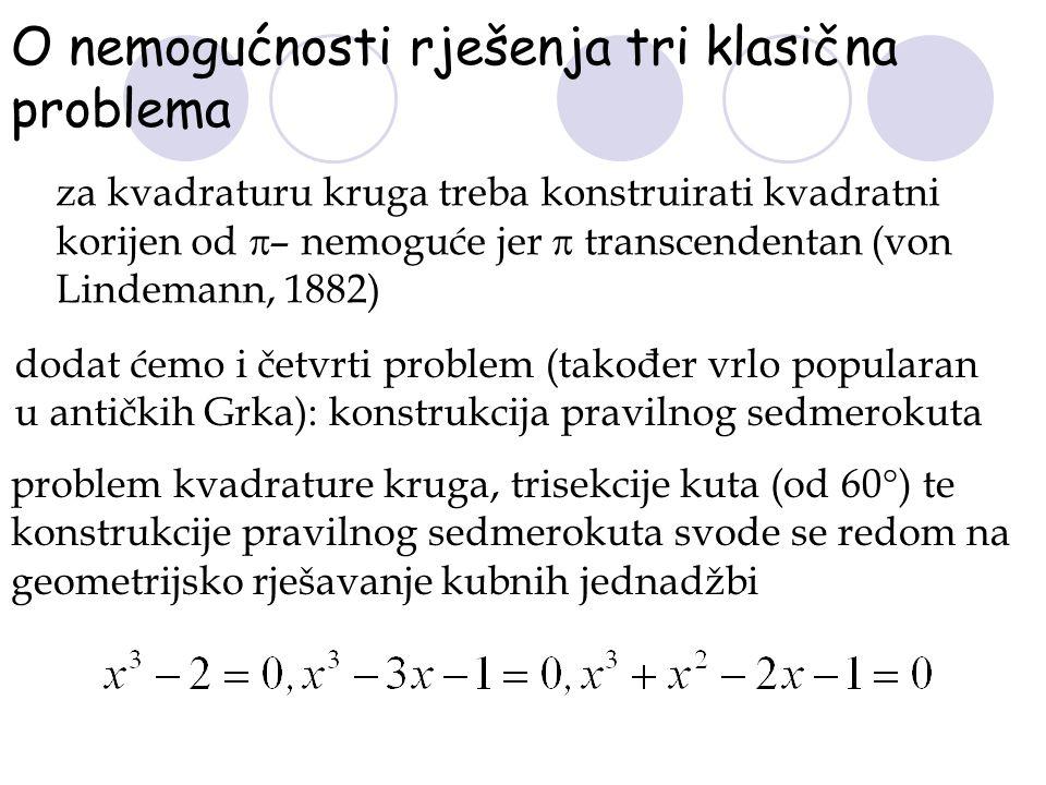 O nemogućnosti rješenja tri klasična problema dodat ćemo i četvrti problem (također vrlo popularan u antičkih Grka): konstrukcija pravilnog sedmerokut
