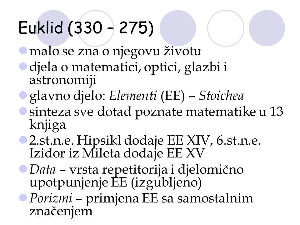Euklid (330 – 275) malo se zna o njegovu životu djela o matematici, optici, glazbi i astronomiji glavno djelo: Elementi (EE) – Stoichea sinteza sve do
