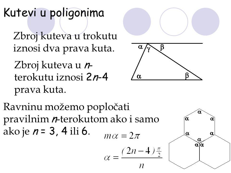 Kutevi u poligonima Zbroj kuteva u trokutu iznosi dva prava kuta. Zbroj kuteva u n - terokutu iznosi 2n-4 prava kuta. Ravninu možemo popločati praviln