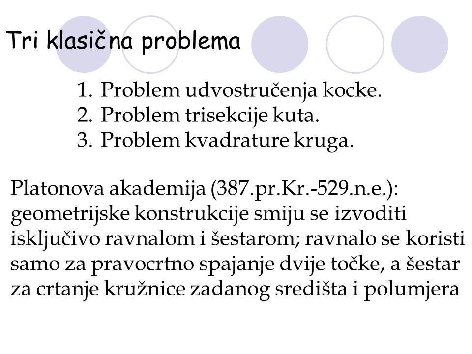 Tri klasična problema 1.Problem udvostručenja kocke. 2.Problem trisekcije kuta. 3.Problem kvadrature kruga. Platonova akademija (387.pr.Kr.-529.n.e.):
