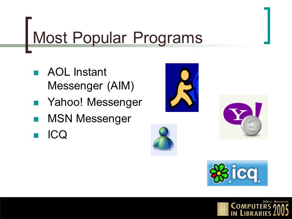 Most Popular Programs AOL Instant Messenger (AIM) Yahoo! Messenger MSN Messenger ICQ
