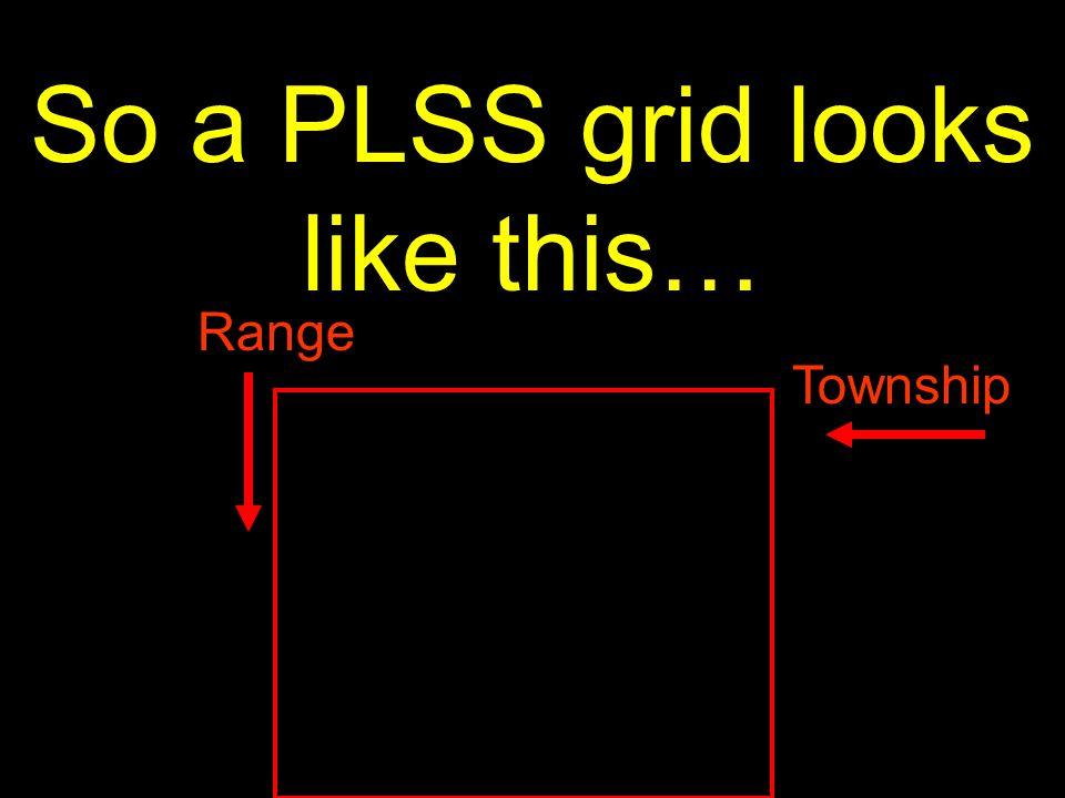 10 So a PLSS grid looks like this… Range Township