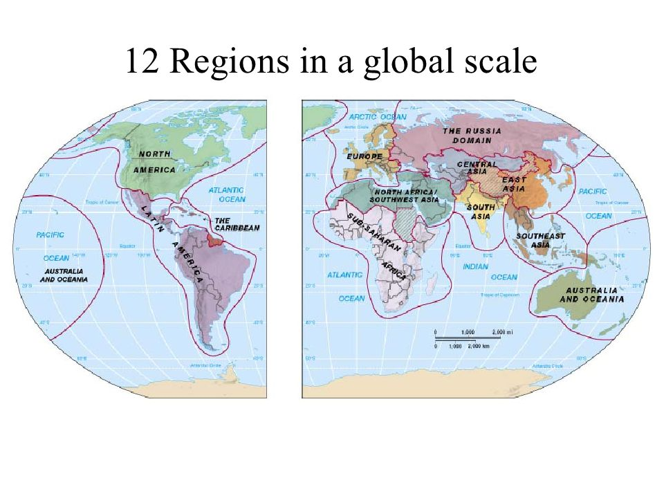 12 Regions in a global scale