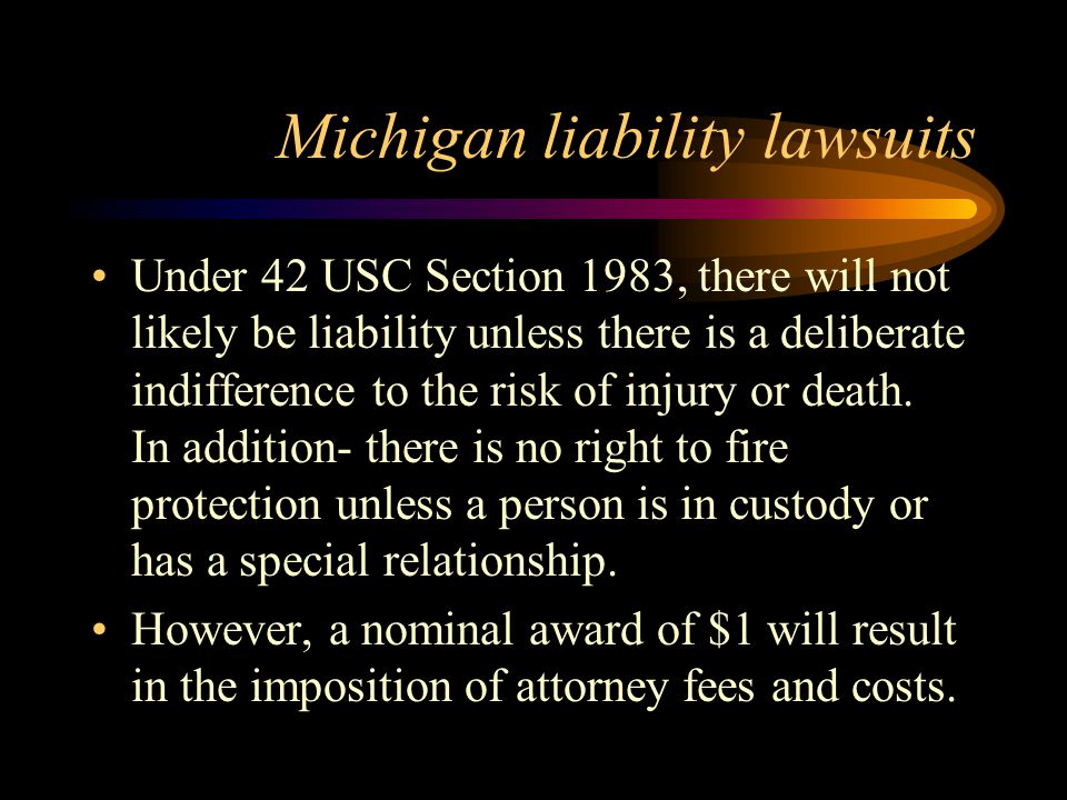 Michigan liability lawsuits Under 42 USC Section 1983, there will not likely be liability unless there is a deliberate indifference to the risk of injury or death.