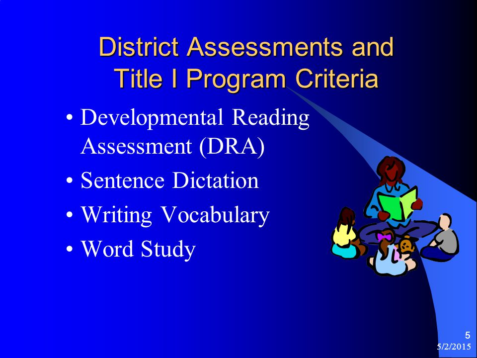 5/2/2015 5 District Assessments and Title I Program Criteria Developmental Reading Assessment (DRA) Sentence Dictation Writing Vocabulary Word Study