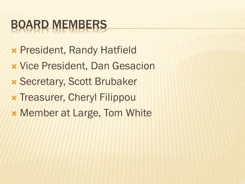  President, Randy Hatfield  Vice President, Dan Gesacion  Secretary, Scott Brubaker  Treasurer, Cheryl Filippou  Member at Large, Tom White
