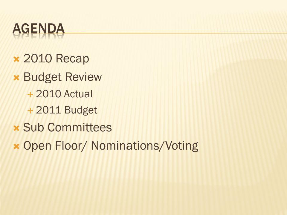  2010 Recap  Budget Review  2010 Actual  2011 Budget  Sub Committees  Open Floor/ Nominations/Voting
