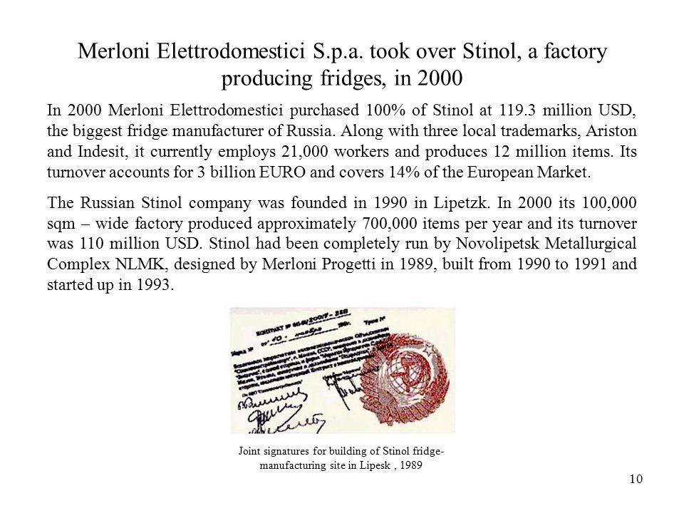 10 Merloni Elettrodomestici S.p.a.