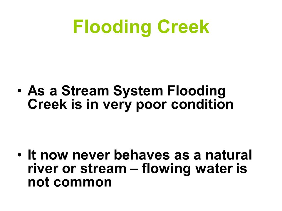 Flooding Creek As a Stream System Flooding Creek is in very poor condition It now never behaves as a natural river or stream – flowing water is not common