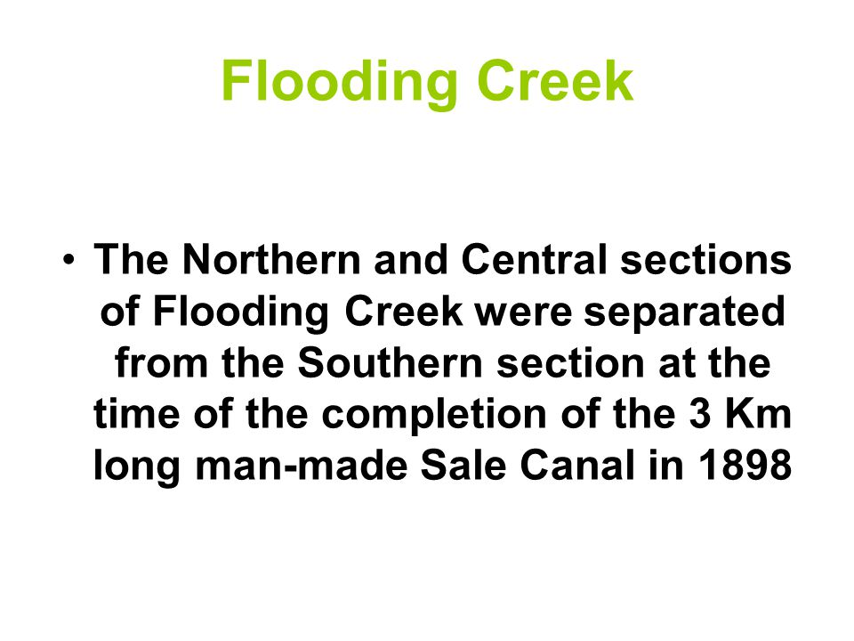 Flooding Creek The Northern and Central sections of Flooding Creek were separated from the Southern section at the time of the completion of the 3 Km long man-made Sale Canal in 1898