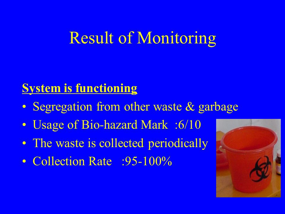 Result of Monitoring System is functioning Segregation from other waste & garbage Usage of Bio-hazard Mark :6/10 The waste is collected periodically C