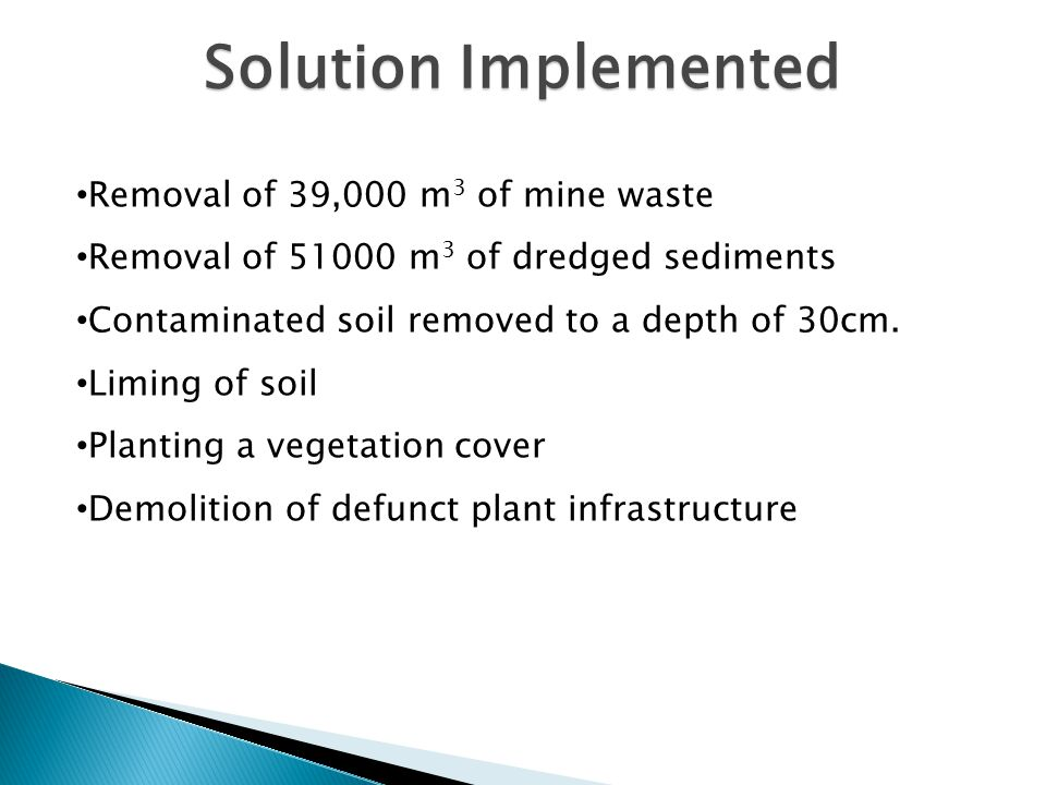 Alternative Solutions Vitrification Capping Soil washing Relocate neighbourhoods Improve public awareness and education programme