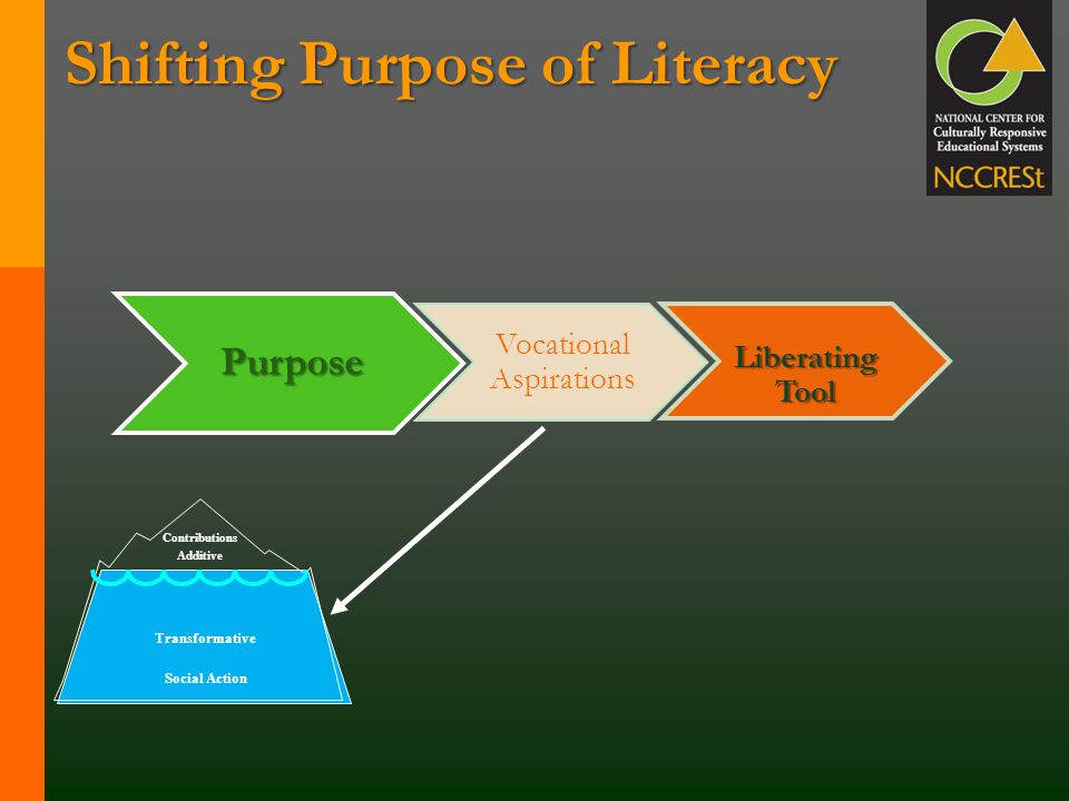 Shifting Purpose of Literacy Contributions Additive Transformative Social Action Purpose Vocational Aspirations Liberating Tool