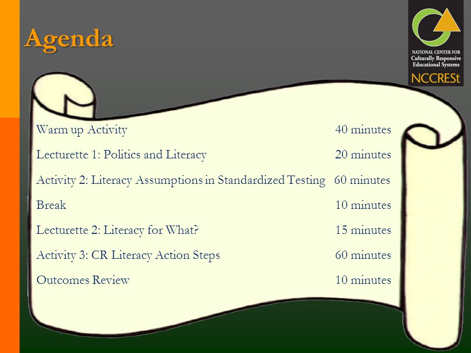 Agenda Warm up Activity 40 minutes Lecturette 1: Politics and Literacy 20 minutes Activity 2: Literacy Assumptions in Standardized Testing 60 minutes Break 10 minutes Lecturette 2: Literacy for What.