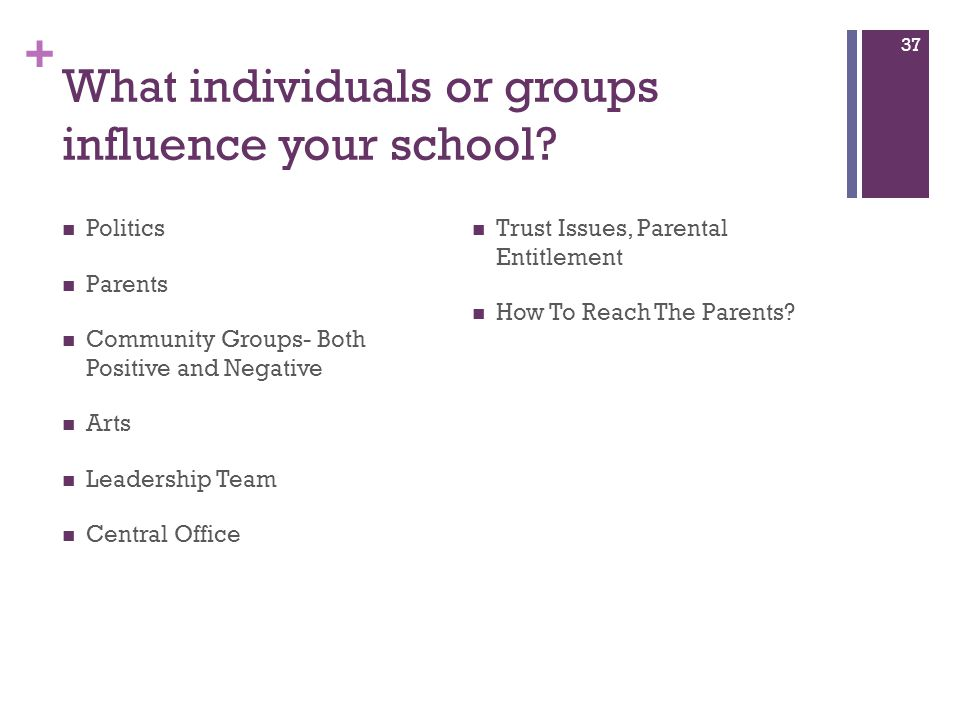 + What individuals or groups influence your school? Politics Parents Community Groups- Both Positive and Negative Arts Leadership Team Central Office
