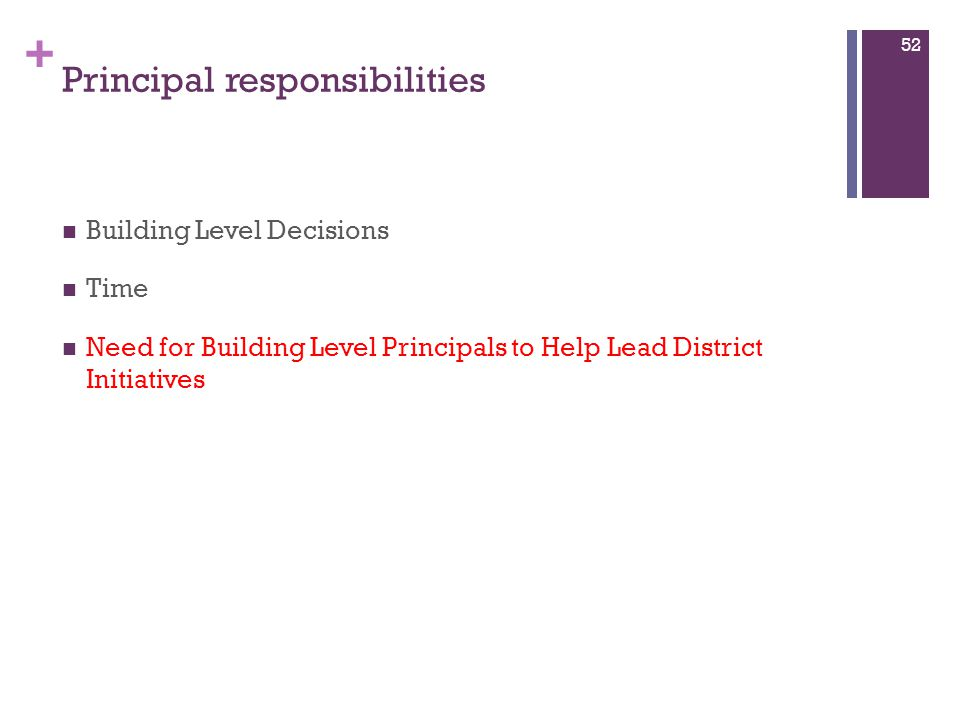 + Principal responsibilities Building Level Decisions Time Need for Building Level Principals to Help Lead District Initiatives 52