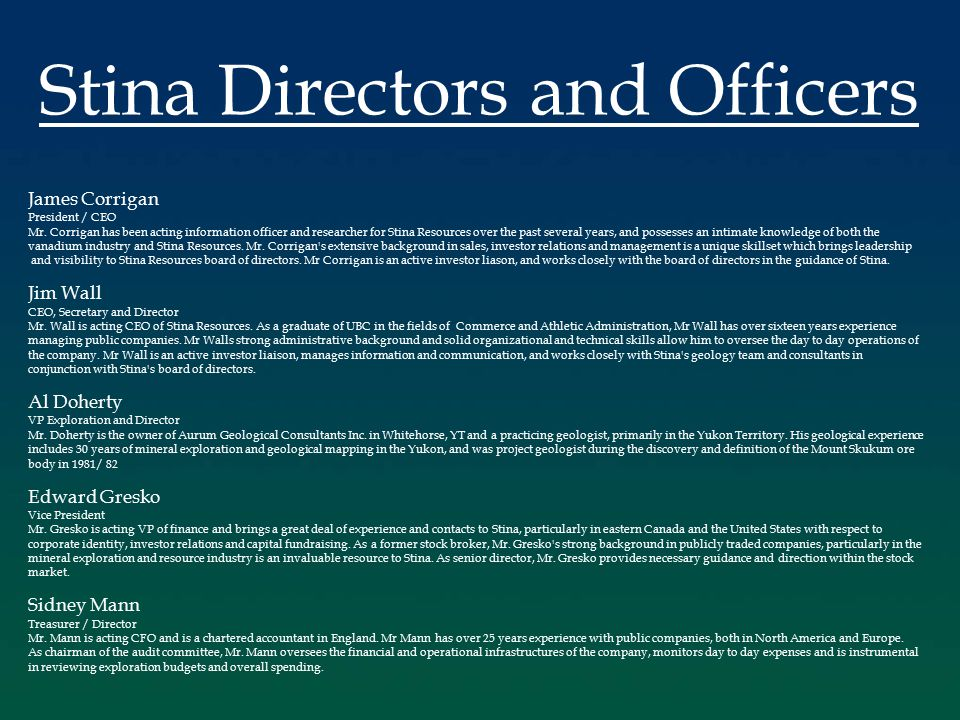 James Corrigan President / CEO Mr.