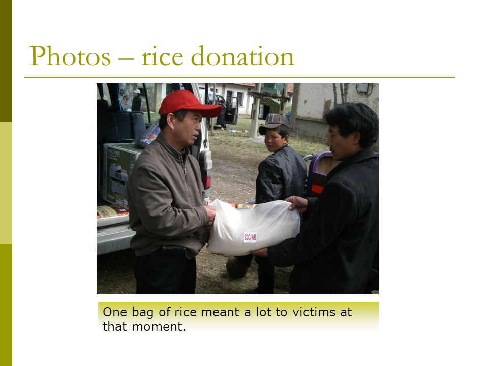 Photos – rice donation One bag of rice meant a lot to victims at that moment.