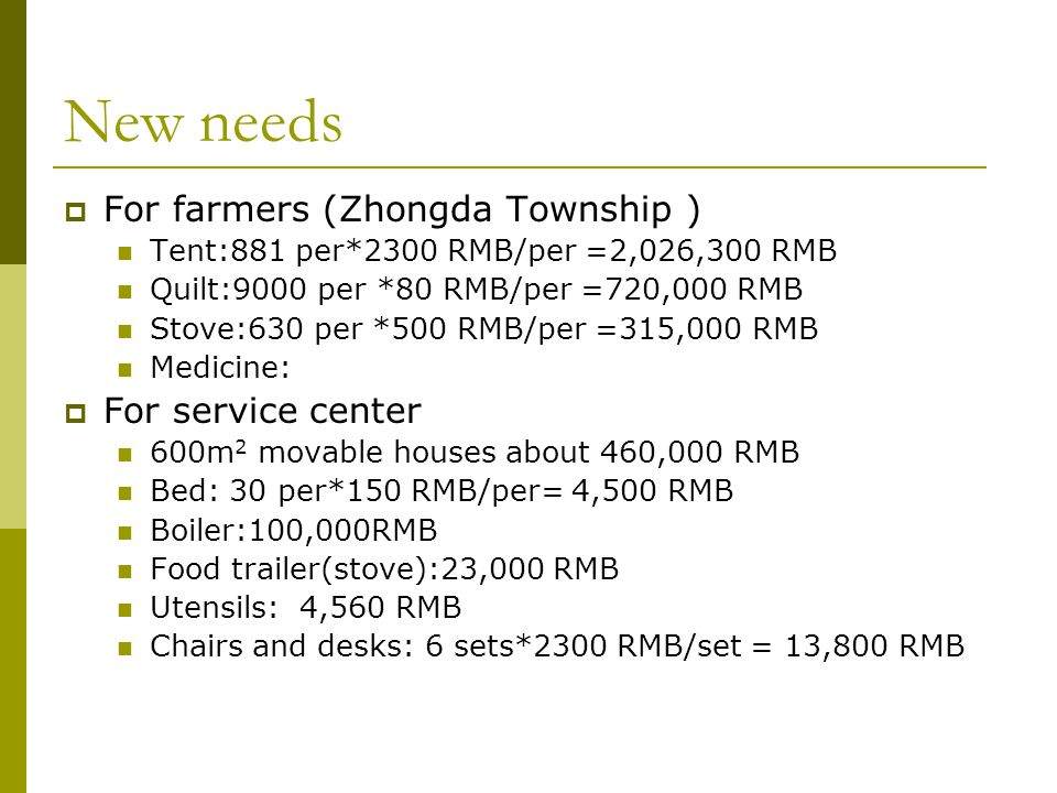 New needs  For farmers (Zhongda Township ) Tent:881 per*2300 RMB/per =2,026,300 RMB Quilt:9000 per *80 RMB/per =720,000 RMB Stove:630 per *500 RMB/per =315,000 RMB Medicine:  For service center 600m 2 movable houses about 460,000 RMB Bed: 30 per*150 RMB/per= 4,500 RMB Boiler:100,000RMB Food trailer(stove):23,000 RMB Utensils: 4,560 RMB Chairs and desks: 6 sets*2300 RMB/set = 13,800 RMB