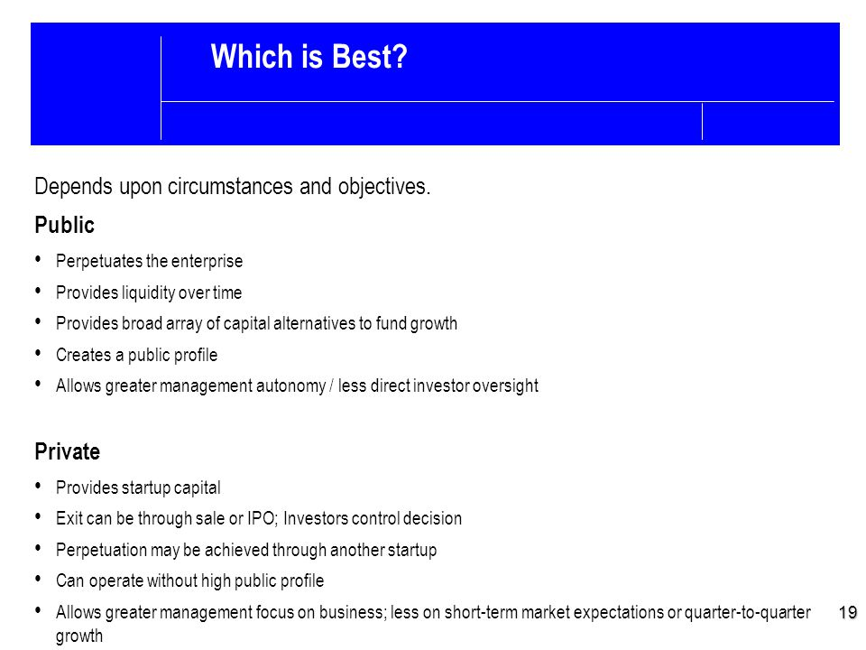19 Which is Best. Depends upon circumstances and objectives.