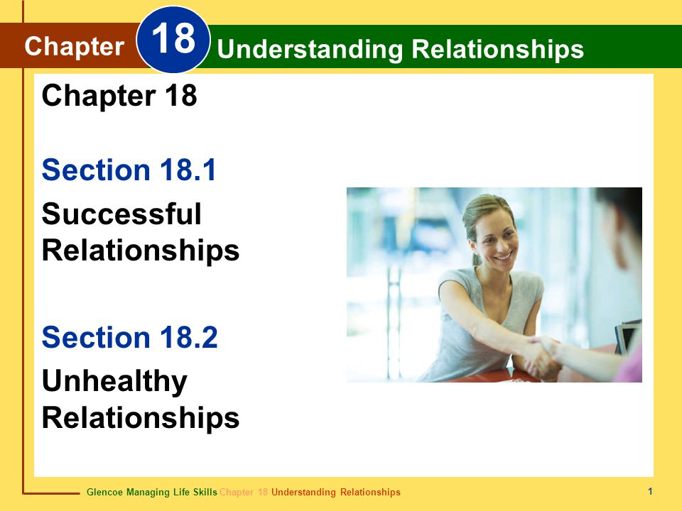 Glencoe Managing Life Skills Chapter 18 Understanding Relationships Chapter 18 Understanding Relationships 1 Section 18.1 Successful Relationships Section 18.2 Unhealthy Relationships Chapter 18 Chapter Understanding Relationships 18