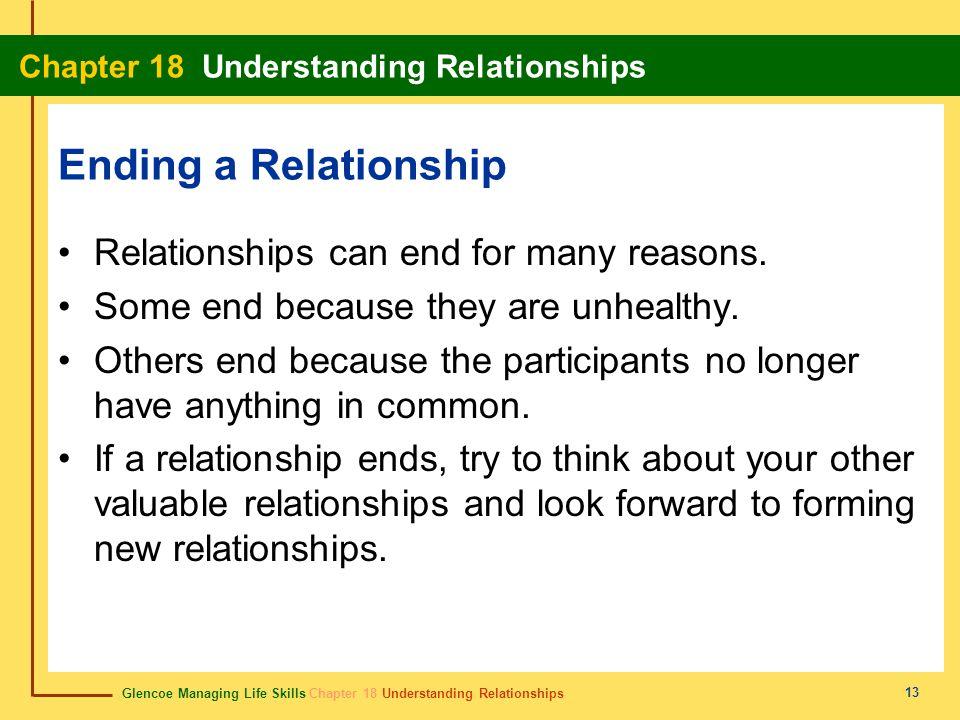 Glencoe Managing Life Skills Chapter 18 Understanding Relationships Chapter 18 Understanding Relationships 13 Ending a Relationship Relationships can end for many reasons.