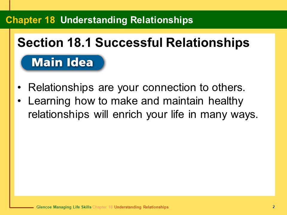 Glencoe Managing Life Skills Chapter 18 Understanding Relationships Chapter 18 Understanding Relationships 2 Relationships are your connection to others.