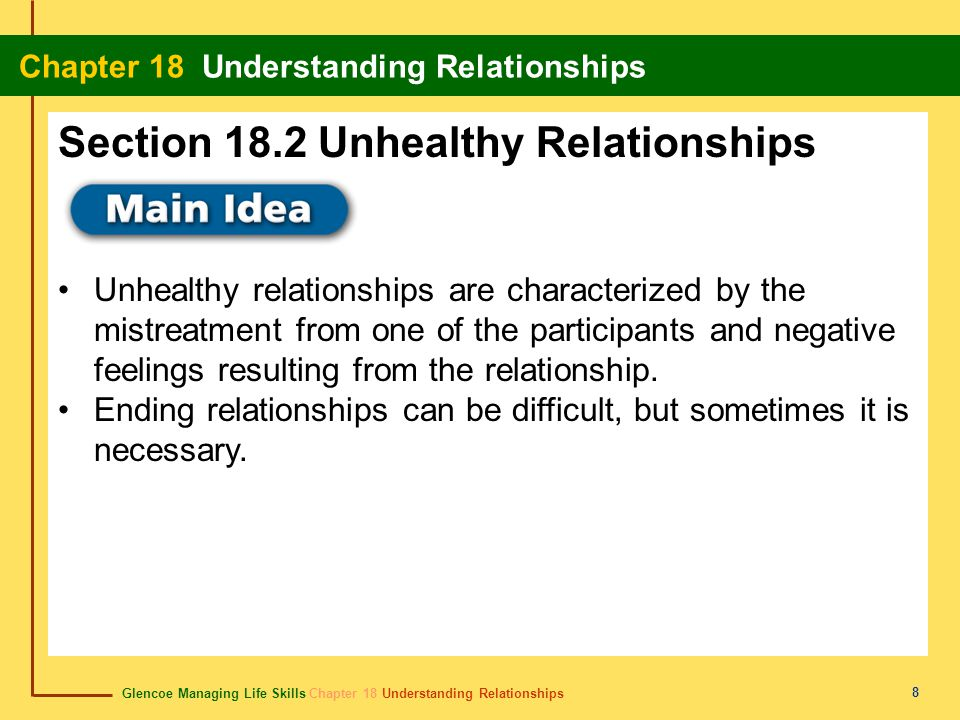 Glencoe Managing Life Skills Chapter 18 Understanding Relationships Chapter 18 Understanding Relationships 8 Unhealthy relationships are characterized by the mistreatment from one of the participants and negative feelings resulting from the relationship.