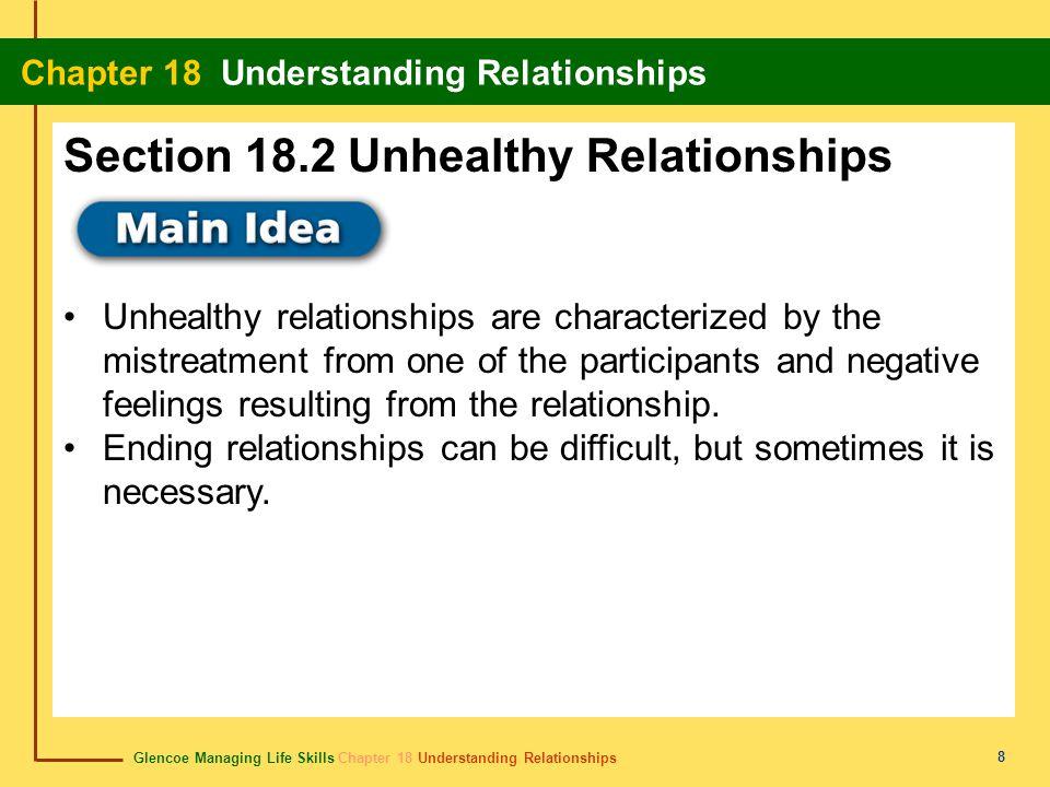 Glencoe Managing Life Skills Chapter 18 Understanding Relationships Chapter 18 Understanding Relationships 8 Unhealthy relationships are characterized