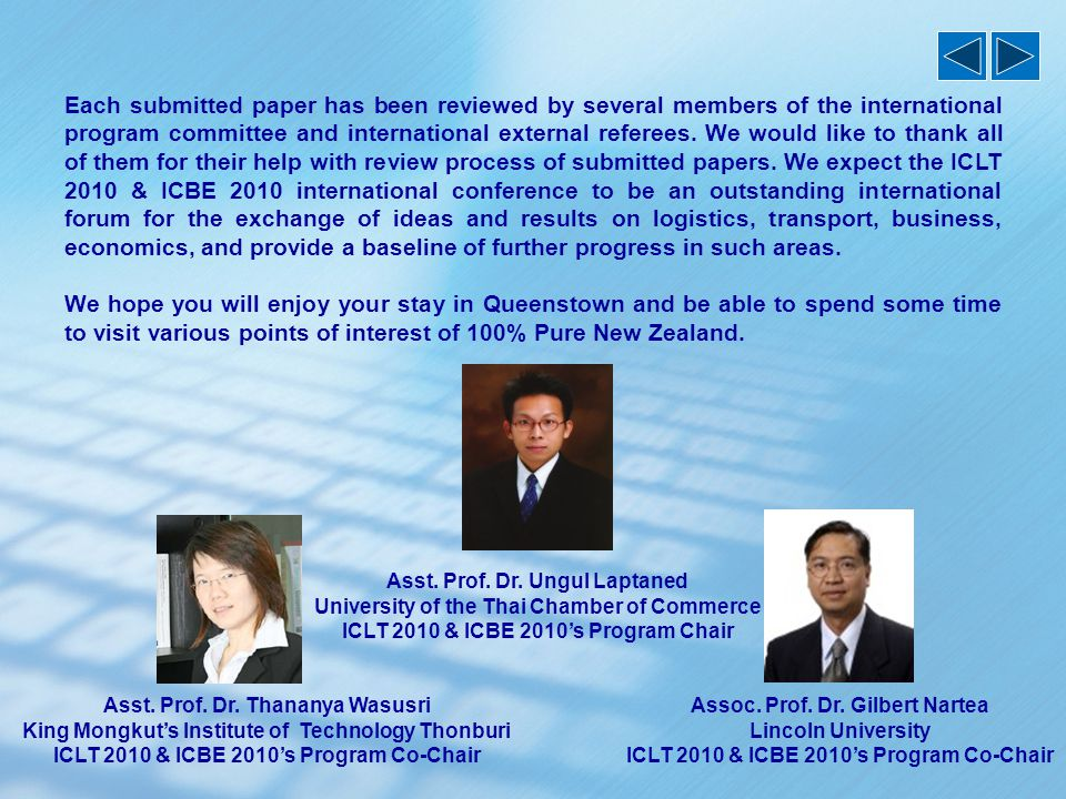 Organised by  Thai Researchers' Consortium of Value Chain Management and Logistics  Chartered Institute of Logistics and Transport (New Zealand) In Cooperation with  Lincoln University (New Zealand)