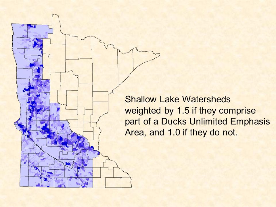 Shallow Lake Watersheds weighted by 1.5 if they comprise part of a Ducks Unlimited Emphasis Area, and 1.0 if they do not.