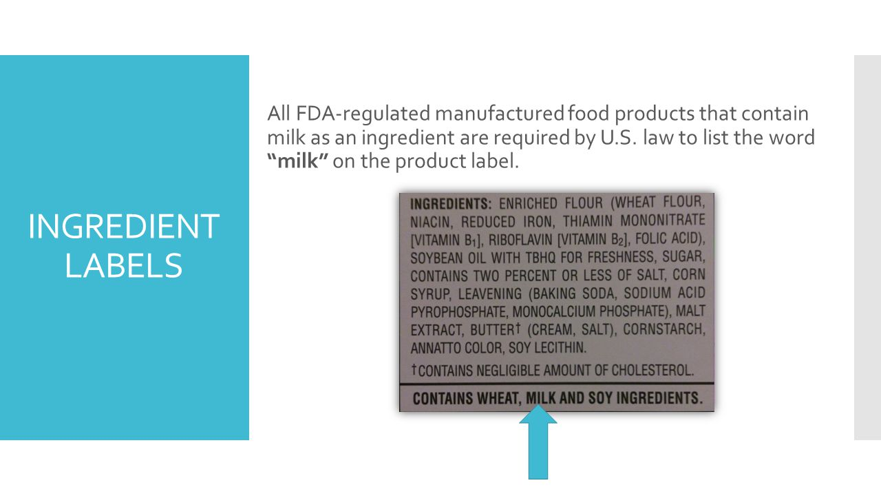 INGREDIENT LABELS All FDA-regulated manufactured food products that contain milk as an ingredient are required by U.S.